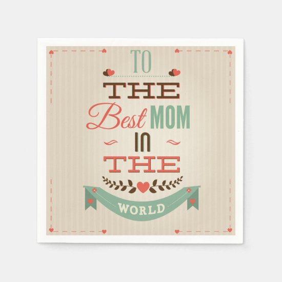 Happy Mother's Day Retro Greeting Paper Napkin