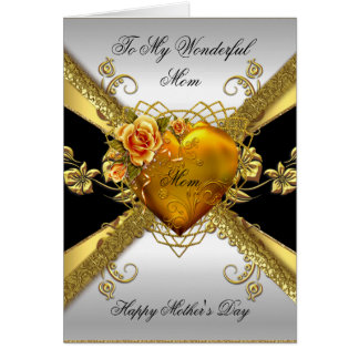 Happy Mother's Day Roses Gold Heart Add Photo 2 Card