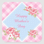Happy Mother's Day Roses Square Stickers