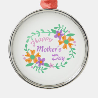 HAPPY MOTHERS DAY ROUND METAL CHRISTMAS ORNAMENT