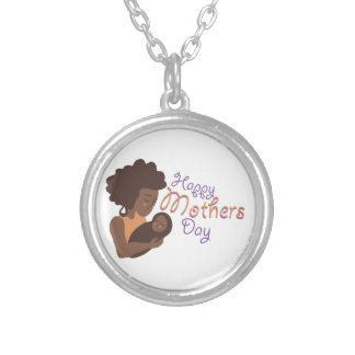 Happy Mothers Day Round Pendant Necklace