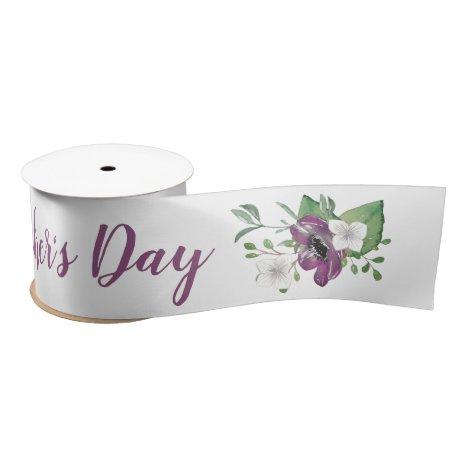 Happy Mothers Day Script w Wild Rose Floral Sprays Satin Ribbon