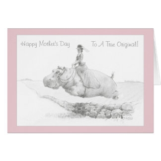 Happy Mother's Day Side Saddle Hippo Card
