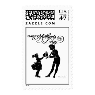 Happy Mothers Day Silhouette Postage Stamp