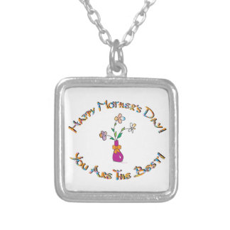 Happy Mothers Day Silver Plated Necklace