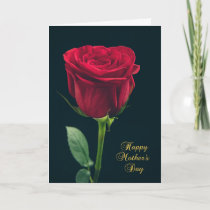 Happy Mother's Day Single Red Rose Card