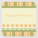 Happy Mother's Day Spring Flowers and Stripes Stickers
