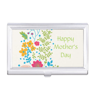 Happy Mother's Day Spring Flowers Business Card Holder