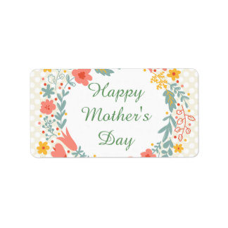 Happy Mother's Day Spring Flowers Label