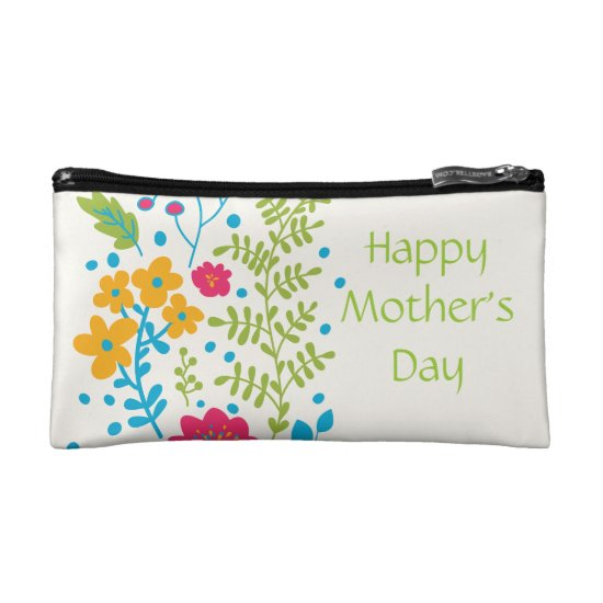 Happy Mother's Day Spring Flowers Makeup Bag