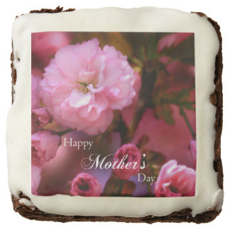 Happy Mothers Day Spring Pink Cherry Blossoms Chocolate Brownie