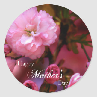 Happy Mothers Day Spring Pink Cherry Blossoms Classic Round Sticker