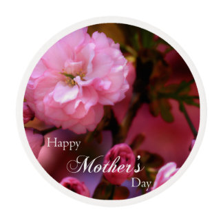Happy Mothers Day Spring Pink Cherry Blossoms Edible Frosting Rounds