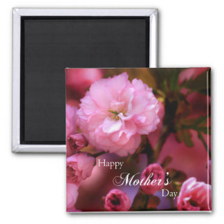 Happy Mothers Day Spring Pink Cherry Blossoms Magnet