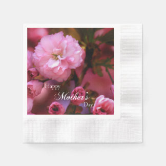 Happy Mothers Day Spring Pink Cherry Blossoms Napkin