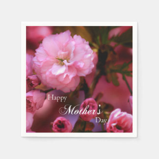 Happy Mothers Day Spring Pink Cherry Blossoms Paper Napkin