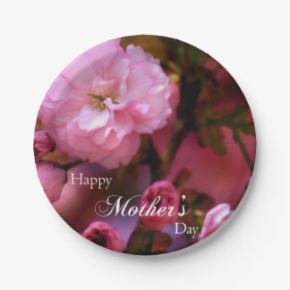 Happy Mothers Day Spring Pink Cherry Blossoms Paper Plate