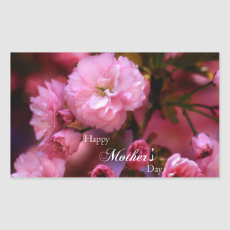 Happy Mothers Day Spring Pink Cherry Blossoms Rectangular Sticker