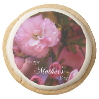 Happy Mothers Day Spring Pink Cherry Blossoms Round Shortbread Cookie