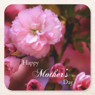 Happy Mothers Day Spring Pink Cherry Blossoms Square Paper Coaster