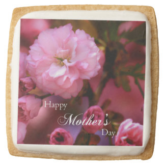 Happy Mothers Day Spring Pink Cherry Blossoms Square Shortbread Cookie