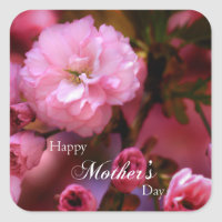 Happy Mothers Day Spring Pink Cherry Blossoms Square Sticker