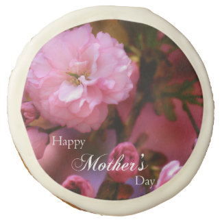Happy Mothers Day Spring Pink Cherry Blossoms Sugar Cookie
