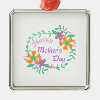 HAPPY MOTHERS DAY SQUARE METAL CHRISTMAS ORNAMENT