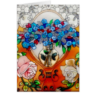 Happy Mother's Day Stained Glass Flowers in Vase C Card