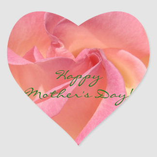 Happy Mother's Day! stickers Pink Rose Heart seals