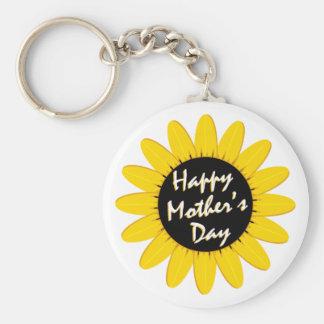 Happy Mother's Day Sunflower Basic Round Button Keychain