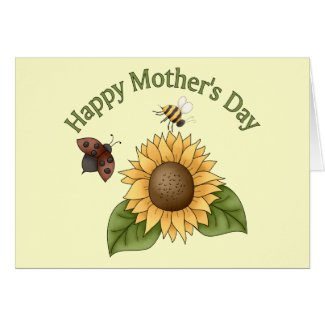 happy Mothers Day Sunflower, Butterfly, Bee Greeting Cards