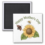 happy Mothers Day Sunflower, Butterfly, Bee Fridge Magnets