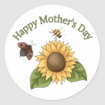 happy Mothers Day Sunflower, Butterfly, Bee Classic Round Sticker