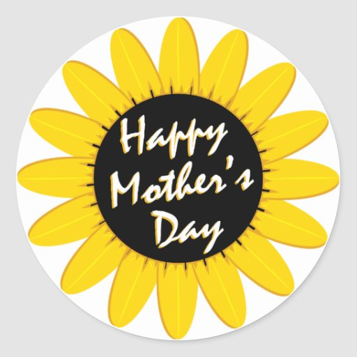 Happy Mother's Day Sunflower Classic Round Sticker