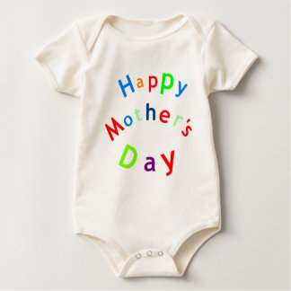 Happy Mothers Day Text Baby Bodysuit