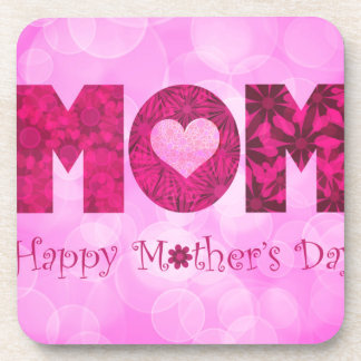Happy Mothers Day Text Floral Background Beverage Coaster