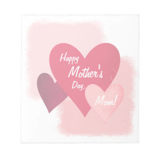 Happy Mother's Day Three Heart Toned and Scratched Notepad