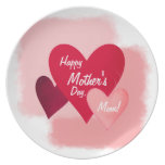 Happy Mother's Day Three Heart Toned and Scratched Dinner Plate