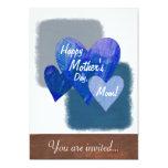 Happy Mother's Day Three Hearts Blue Invitation