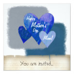 Happy Mother's Day Three Hearts Blue Personalized Invite