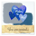 Happy Mother's Day Three Hearts Blue Personalized Announcement