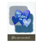 Happy Mother's Day Three Hearts Blue Invitations