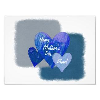 Happy Mother's Day Three Hearts Blue Photo Print