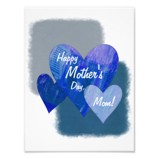 Happy Mother's Day Three Hearts Blue Art Photo