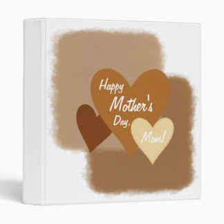 Happy Mother's Day Three Hearts Brown 3 Ring Binder