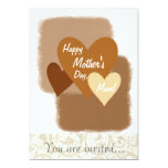 Happy Mother's Day Three Hearts Brown 5x7 Paper Invitation Card