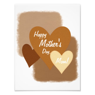 Happy Mother's Day Three Hearts Brown Photo Print