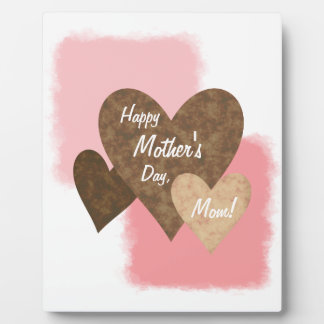Happy Mother's Day Three Hearts Brown Plaque