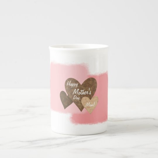 Happy Mother's Day Three Hearts Brown Tea Cup